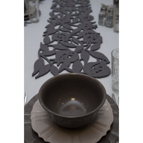 Dorit Judaica Felt Table Runner Pomegranate with Leaves Cutout - Grey