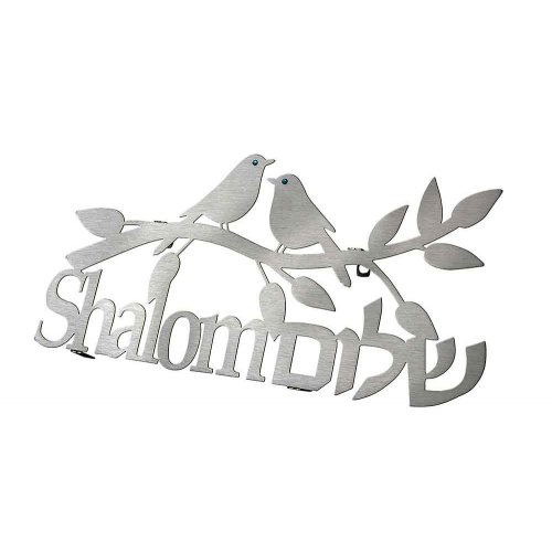 Dorit Judaica Floating Letters Wall Plaque Birds on Shalom Twig - Hebrew English