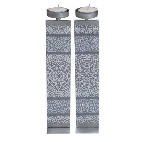 Dorit Judaica Glass and Metal Pillar Candlesticks - Mandala