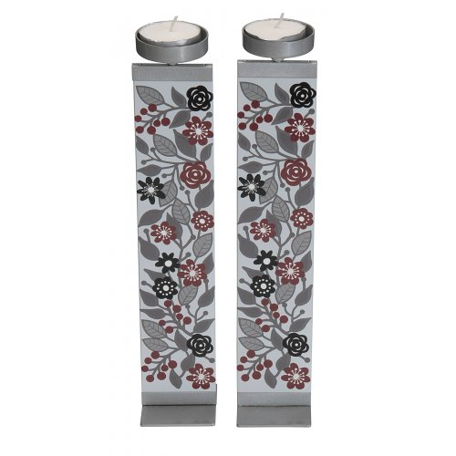 Dorit Judaica Glass and Metal Pillar Candlesticks - Pomegranate