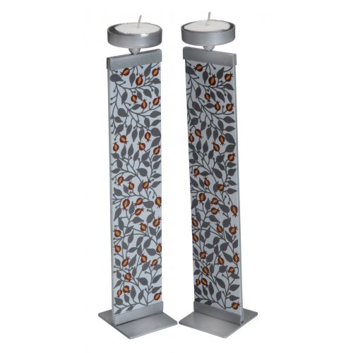 Dorit Judaica Glass and Metal Pillar Candlesticks - Pomegranate Leaf