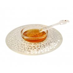 Dorit Judaica Glass and Stainless Steel Honey Dish with Spoon - Blessing Words