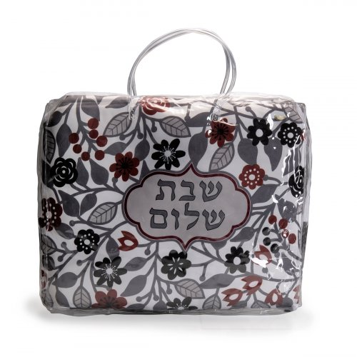Dorit Judaica Grey and Maroon Shabbat Hot Plate Platta Cover - Flowers