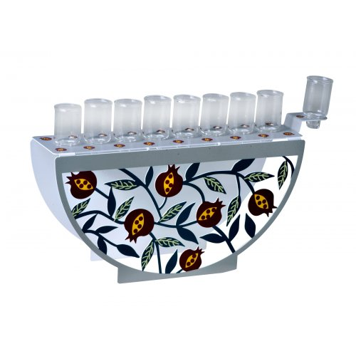 Dorit Judaica Hanukkah Menorah for Candles with Arc Front - Colorful Pomegranates