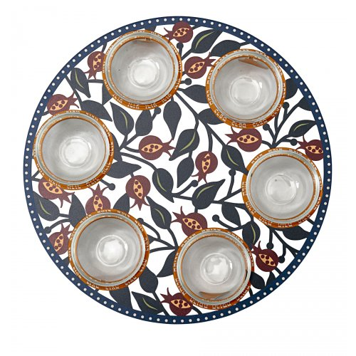 Dorit Judaica Laser Cut Seder Plate Colorful Pomegranates - Glass Bowls