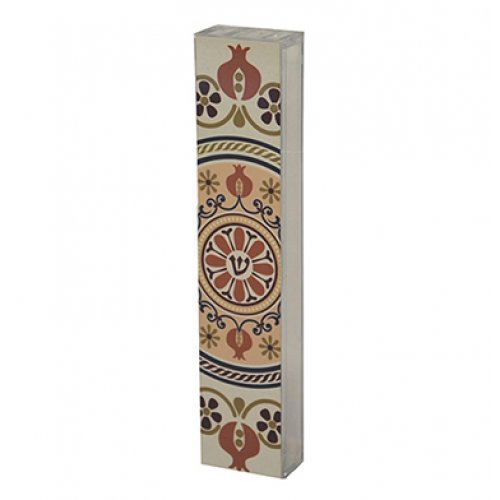 Dorit Judaica Lucite Mezuzah Case Aluminum Print – Orange Wheel of Life