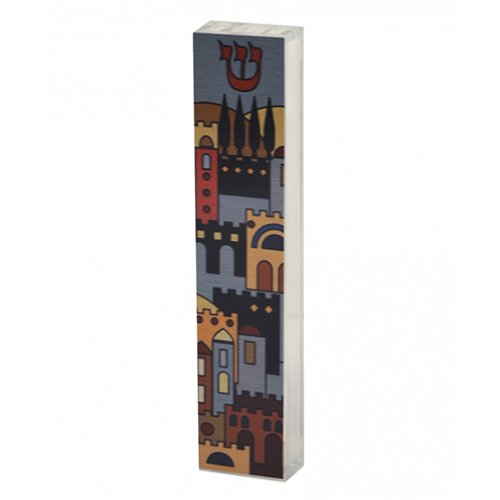 Dorit Judaica Lucite Mezuzah Case Colorful Aluminum Print - Jerusalem Images