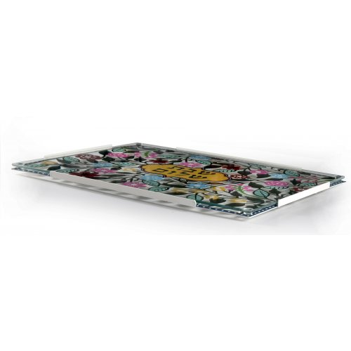 Dorit Judaica Painted Challah Board with Tempered Glass Cover - Colorful Flowers