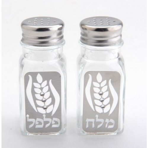 Dorit Judaica Salt and Pepper Shakers - Wheat with Clear Stones