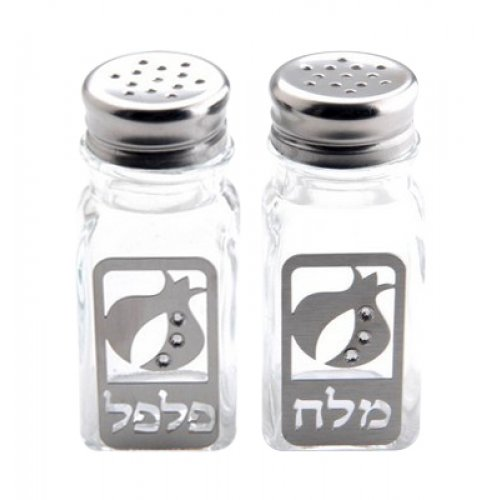 Dorit Judaica Salt and Pepper Shakers Set - Pomegranates with Clear Stones