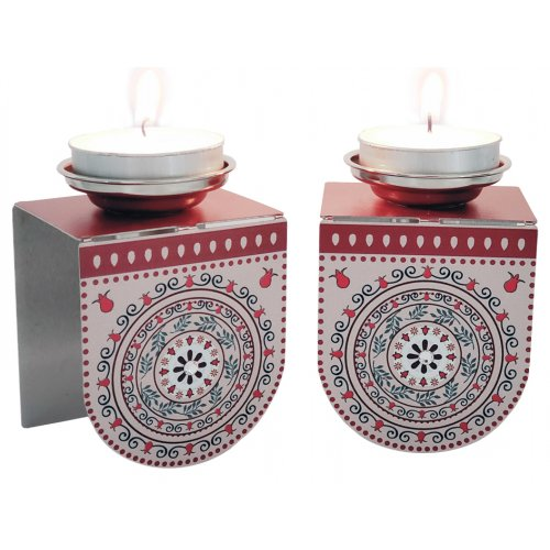 Dorit Judaica Small Shabbat Candlesticks Pomegranate Design - Red and Pink