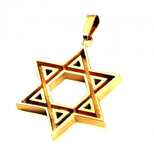 Double Sided 14K Gold Star of David Pendant with Channel Design