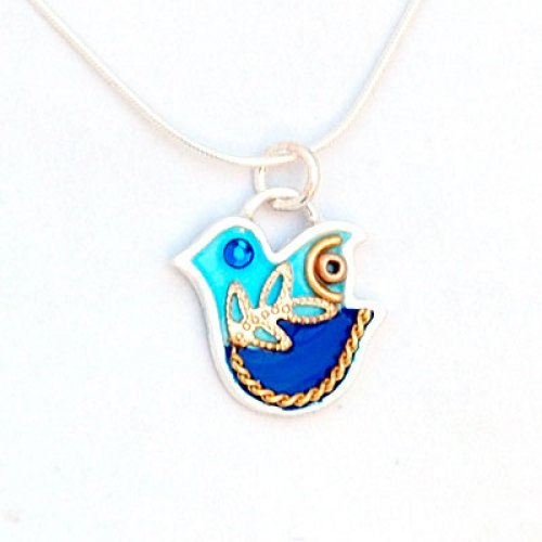 Dove Necklace in Blue by Ester Shahaf