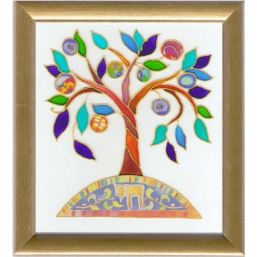 Dvora Black Tree of Life Hand-Finished Print Hebrew Chai