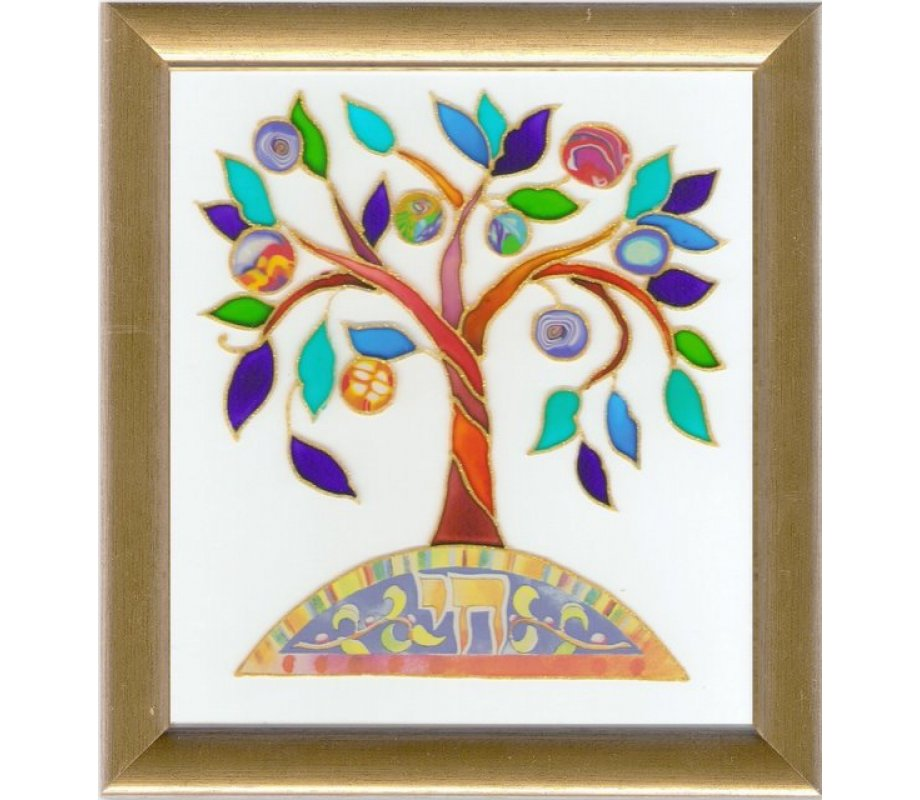 Dvora Black Tree Of Life Hand Finished Print Hebrew Chai Ajudaica