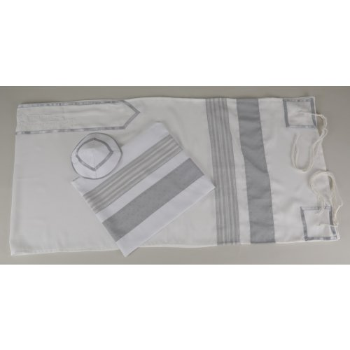 Elegant Gray and White Tallit Set - Galilee Silk