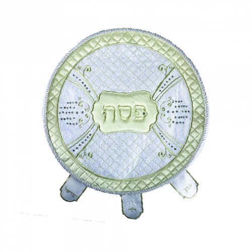 Elegant White and Cream Gold Embroidered Seder Matzah Cover with Stones