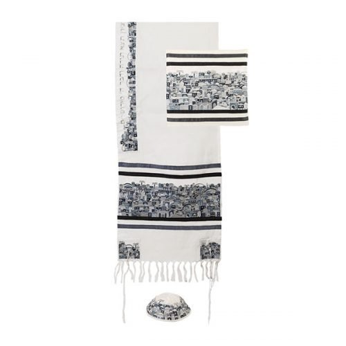 Emanuel Embroidered Jerusalem in Black-Gray Cotton Tallit Set