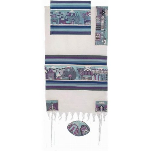 Emanuel Hand Embroidery Tallit - Jerusalem in blue