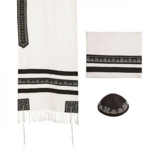 Emanuel Tallit Set with Decorated Black Stripes