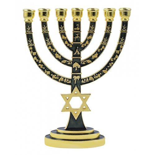 Enamel Plated 7-Branch Menorah with Gold Judaic Decorations - Green