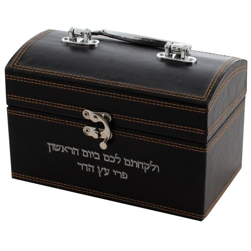 Faux Leather Brown Chest Etrog Box with Clasp lock - Hebrew wording