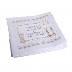 Festive Shabbat and Holiday Tablecloth with Gold Shabbat Design