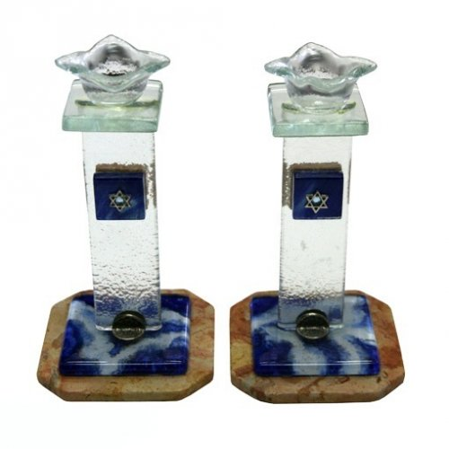 Flower Candlesticks - Blue-White