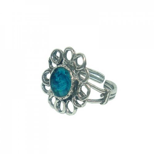 Flower Design Roman Glass Adjustable Ring