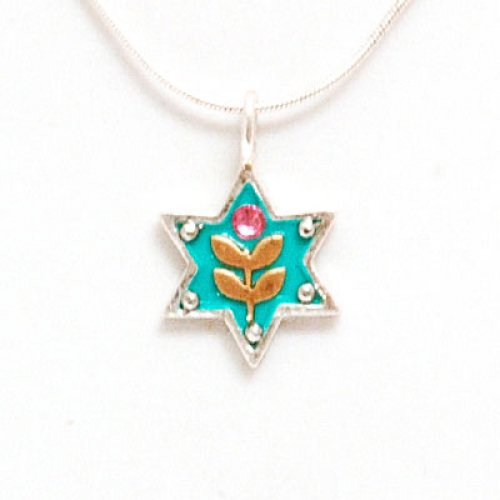 Flower Design Silver Star of David Necklace by Ester Shahaf