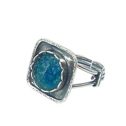 Flower in a Square Silver Roman Glass Adjustable Ring