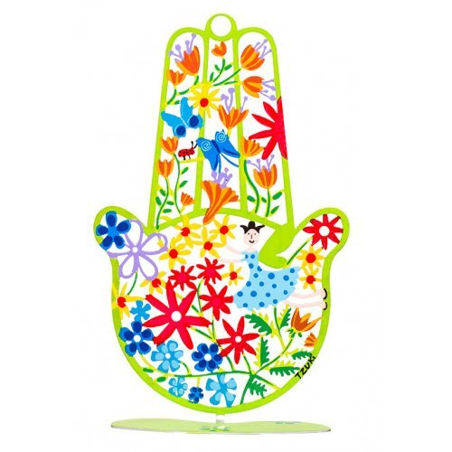 Flowers Spring Hamsa Hand in Green by Tzuki Art