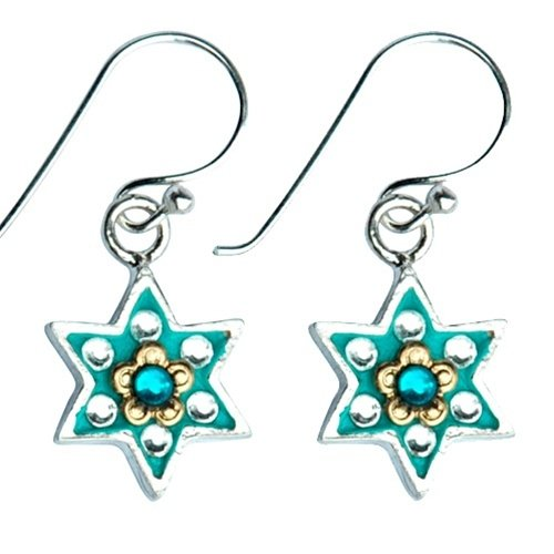 Flowers Star of David Jewish earrings
