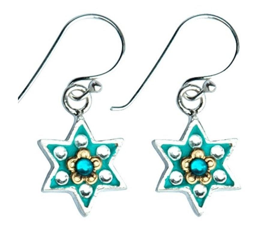 Flowers Star Of David Jewish Earrings