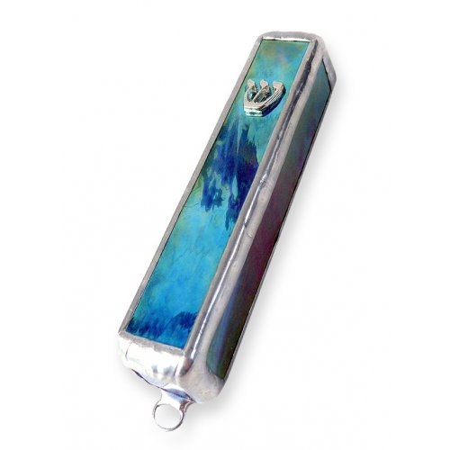 Friekmanndar Fused Glass Mezuzah Case - Blue Turquoise Marble Effect