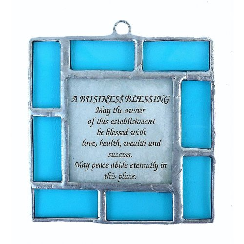 Friekmanndar Hand Made Fused Glass Blessing for Business in English - Turquoise