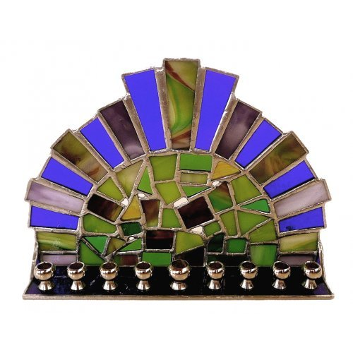 Friekmanndar Stained Glass Hanukkah Menorah Crown Design - Forest Shades