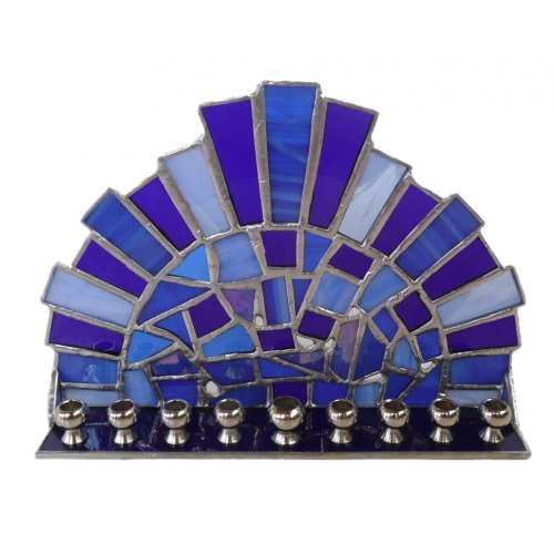 Friekmanndar Stained Glass Hanukkah Menorah Crown Design - Purple Shades