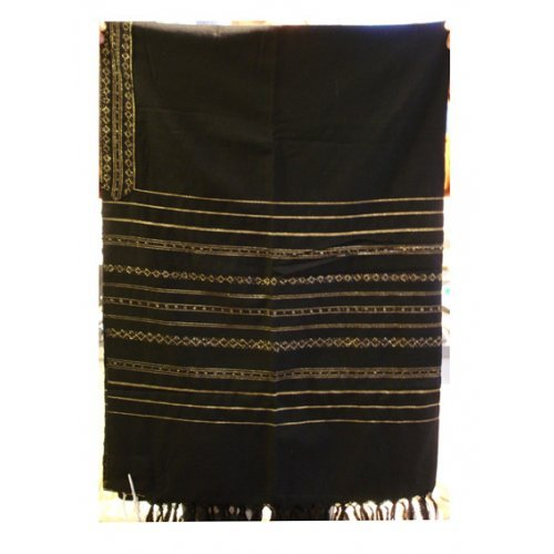 Gabrieli Handwoven Black Wool Tallit Set - Gold stripes