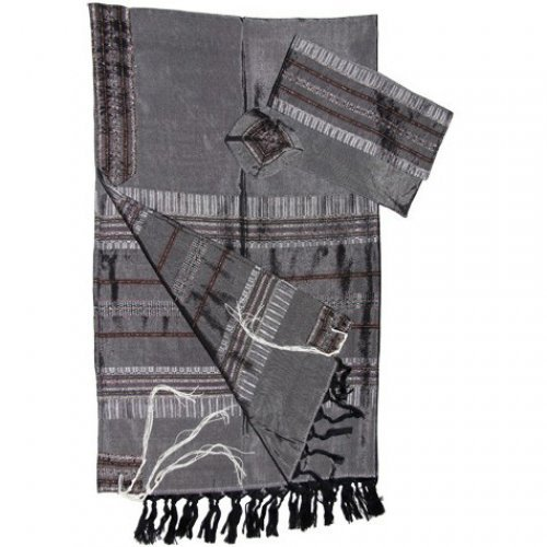 Gabrieli Handwoven Silk Gray Tallit Set - Silver Stripes