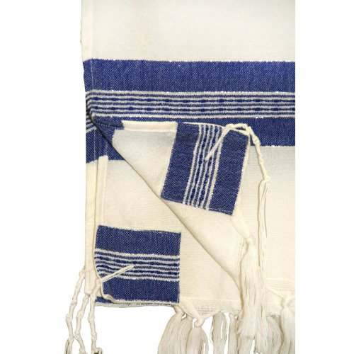 Gabrieli Handwoven White Wool Tallit Set - Blue and Silver Stripes