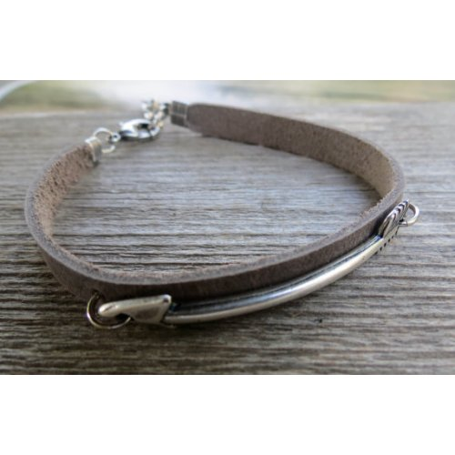 Gal Cohen Leather Mens Bracelet with Silver Plate Arrow