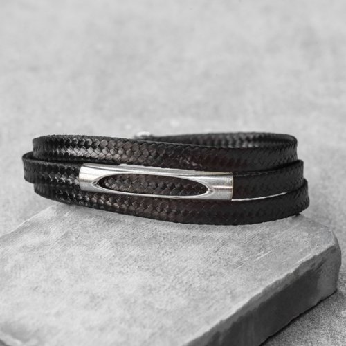 Galis Mans Triple Wrap Fabric Bracelet with Silver Plated Tube Element