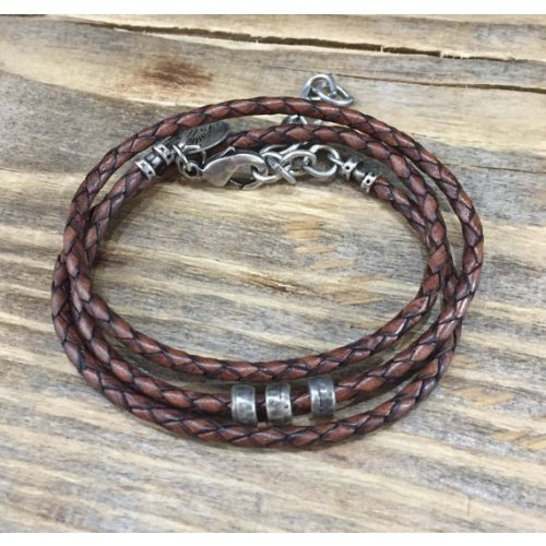 Galis Mens Triple Wrap Braided Leather Bracelet with 3 Circles