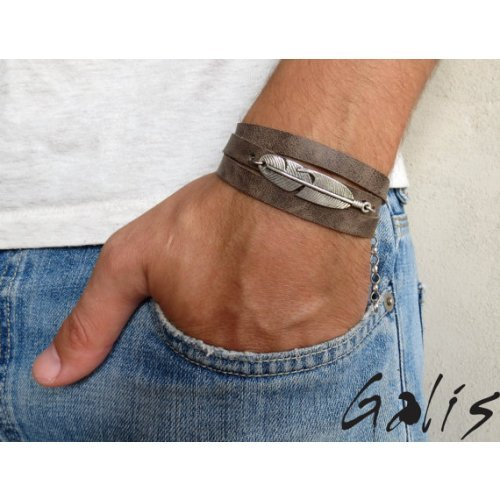 Galis Mens Triple Wrap Feather Bracelet