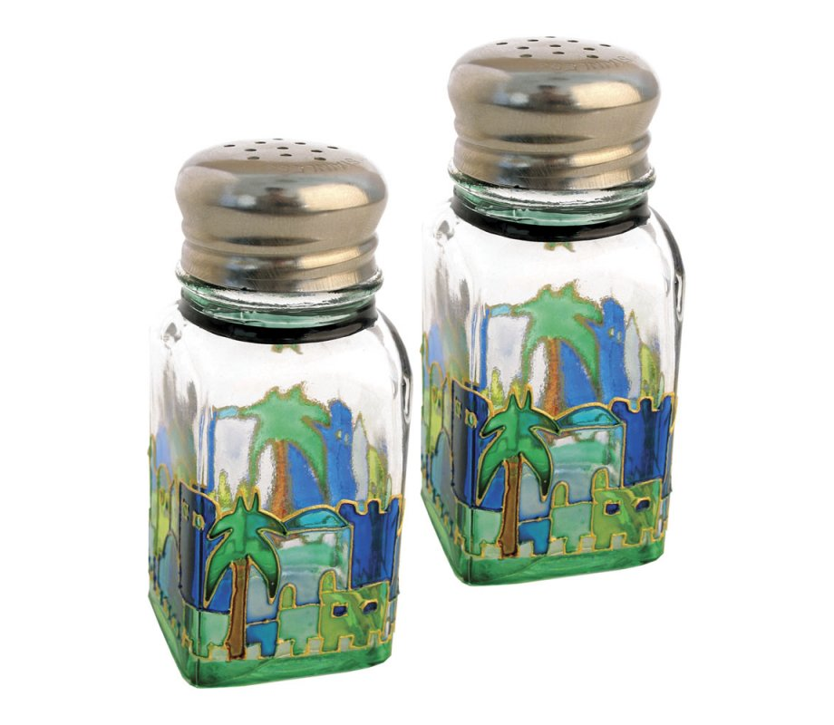 Glass Salt And Pepper Shakers With Jerusalem Design