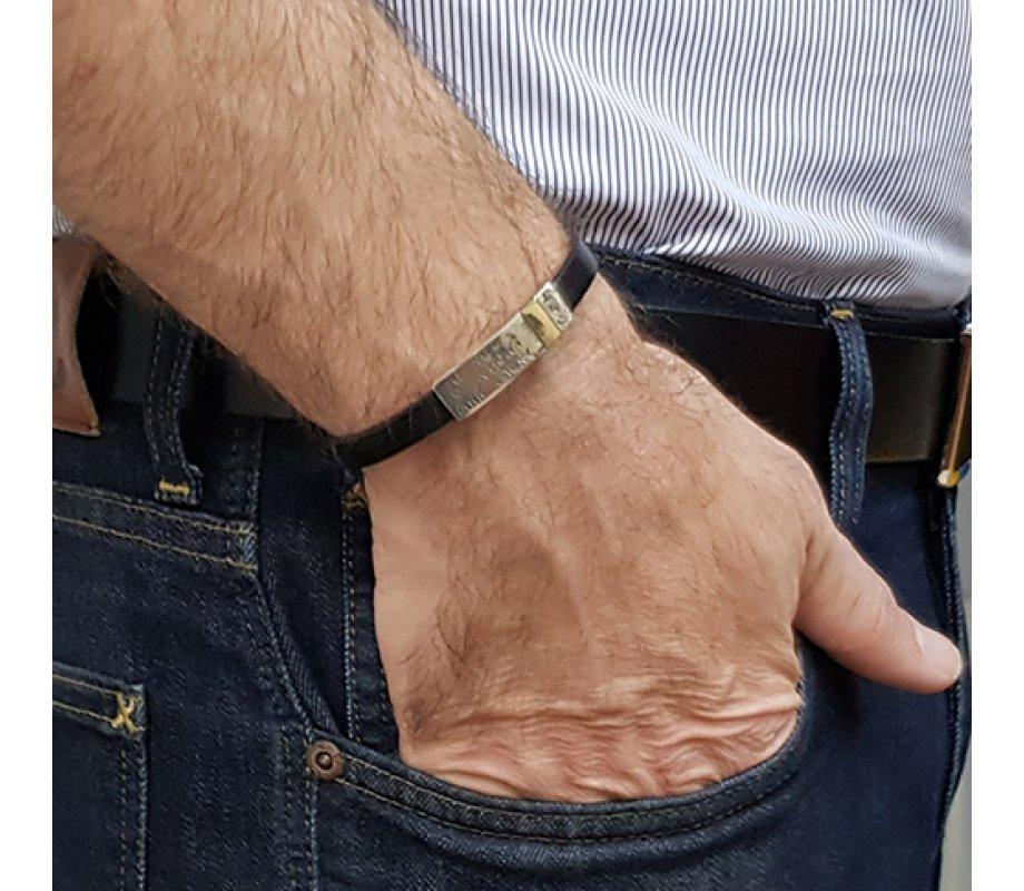 Golan Leather Men Bracelet With Sterling Silver Hebrew Shema Yisrael Prayer