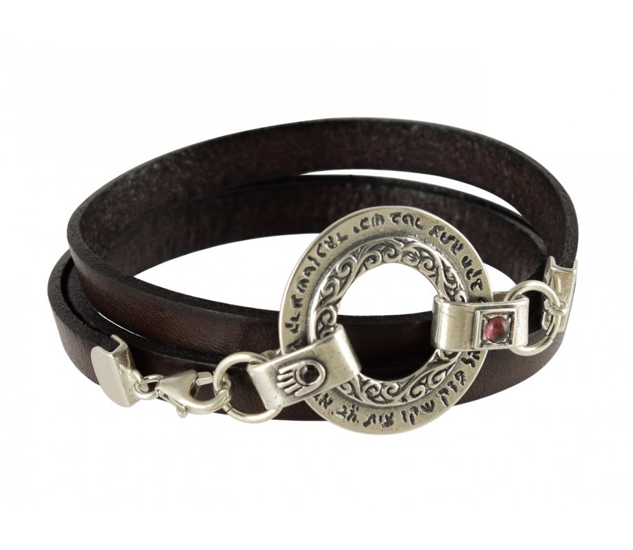 Golan Men Triple Wrap Leather Bracelet With Silver Ana Bekoach Aaron Blessing
