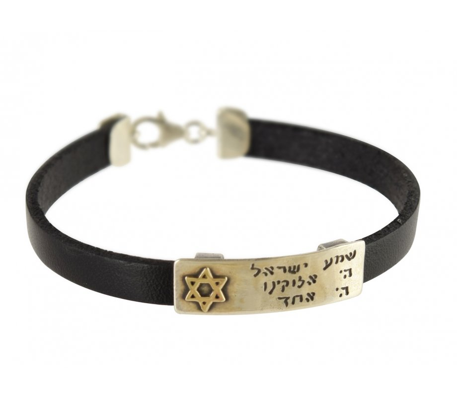 Golan Studio Men Leather Bracelet Silver Hebrew Shema Prayer & Gold Star of  David