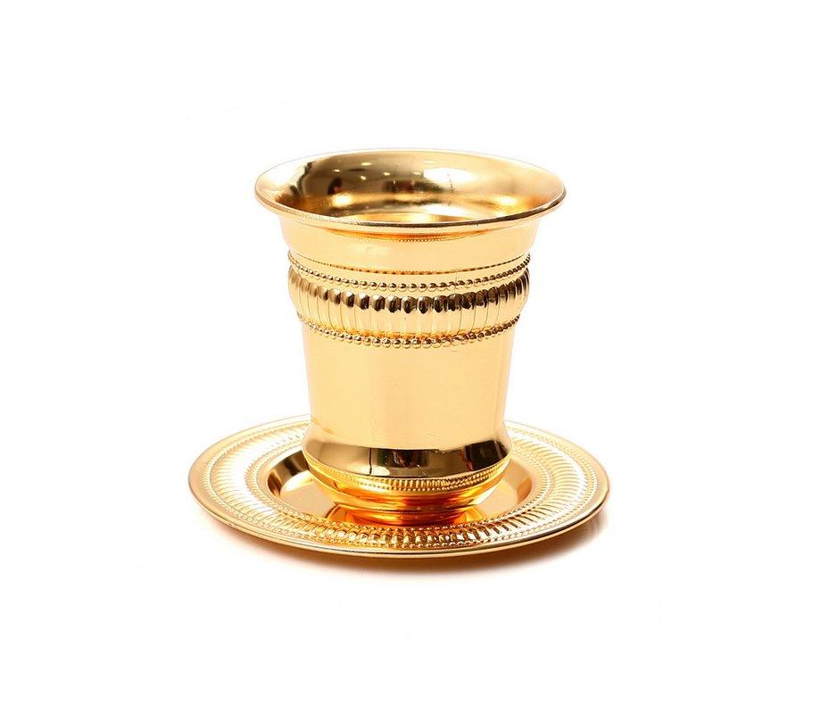 gold color kiddush cup and plate ajudaica com